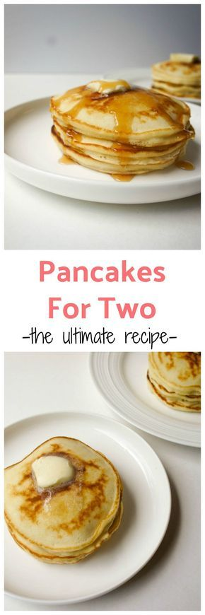 The best pancakes for two recipe (or single serving pancake recipe if you love these as much as I do!). These are fluffy, thick, slightly sweet, quick and easy in under 10 minutes. The perfect thing to wake up to!