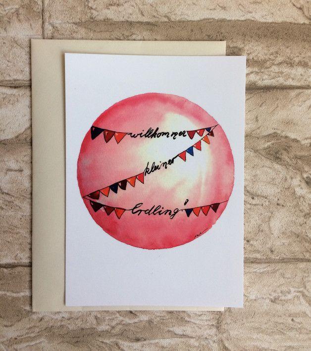 Postkarte zur Geburt 'willkommen kleiner Erdling'! Größe/Maße/Gewicht: DIN A6 (14,8 cm x 10, 5 cm ) = 1,50€ Verwendete Materialien Aquarellfarben , Aquarellpapier, Postkartendruck,...