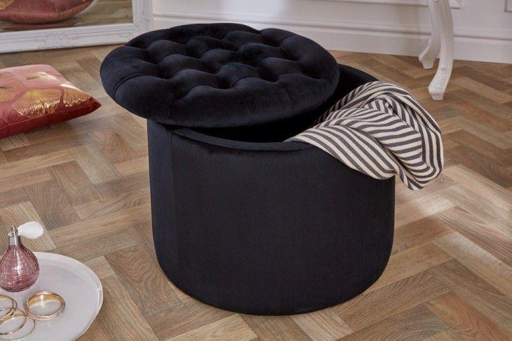 Czarna Pufa Otwierana Black And White Decor Decor Black Furniture