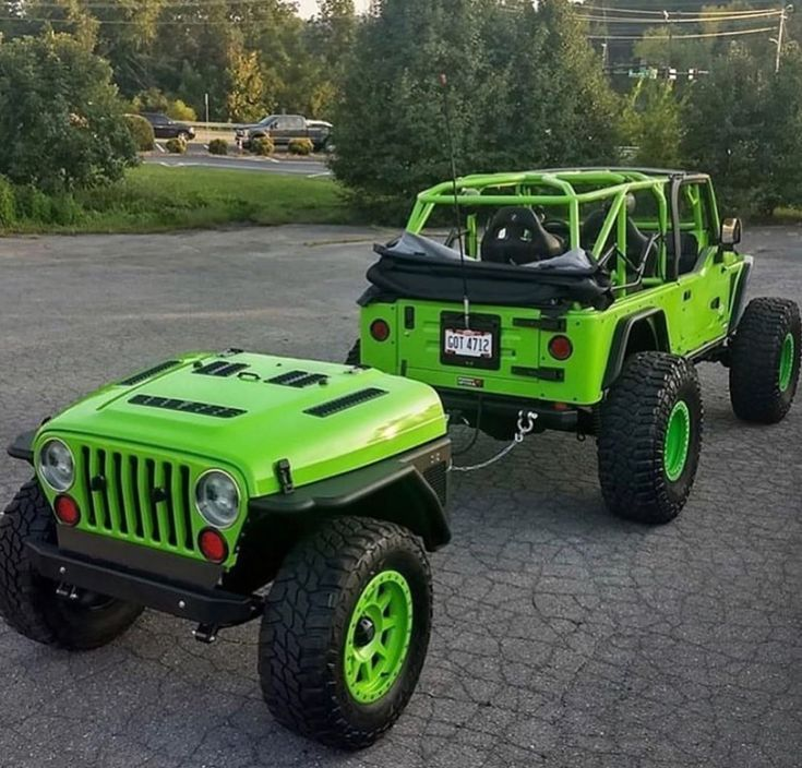 Jeep With Custom Trailer Key Lime Green In 2020 Jeep Trailer Offroad Jeep Jeep
