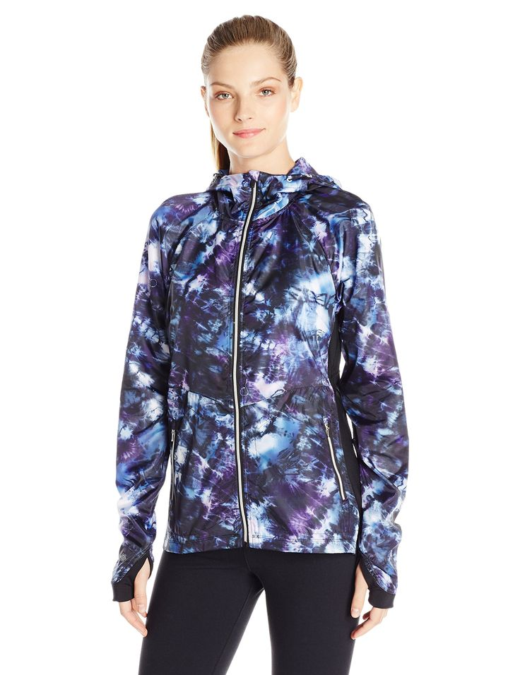 Nanette Lepore Play Women's Packable Windbreaker, Kaleidoscope, Large. Light weight packable jacket for easy travel. Hooded jacket. Light weight.