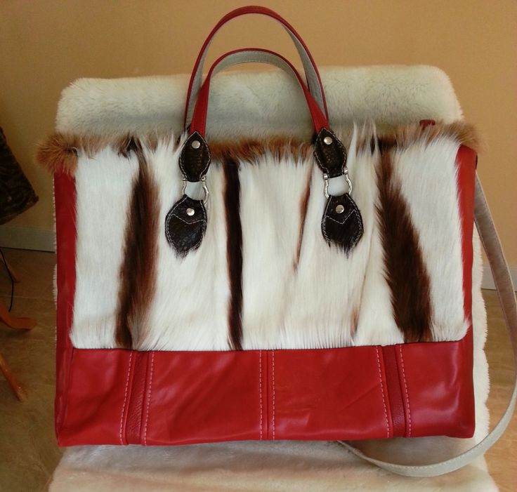 Leather handbag- rectangle/red/real springbook fur by gajakp on Etsy