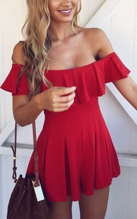 Red off the shoulder dress.