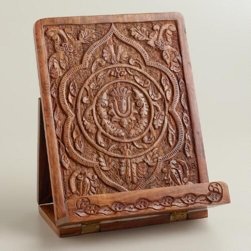 One of my favorite discoveries at WorldMarket.com: Hand-Carved Wood Tablet Stand
