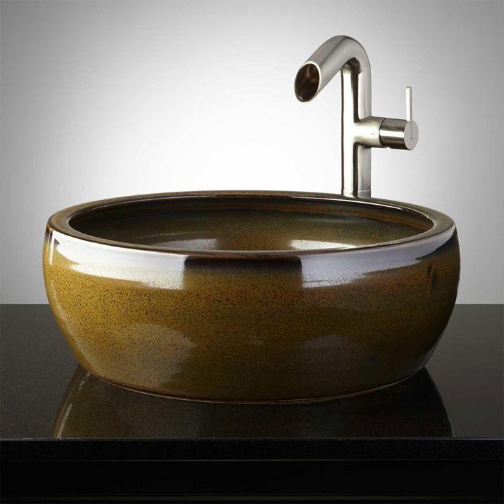 Camillus Hand Glazed Pottery Vessel Sink Fern