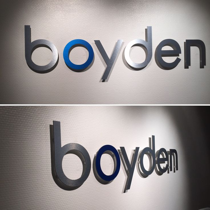 Utfreste bokstaver i børstet aluminium. #skilt #aluminium #dekor #foliexperten #boyden www.foliexperten.no/skilt/