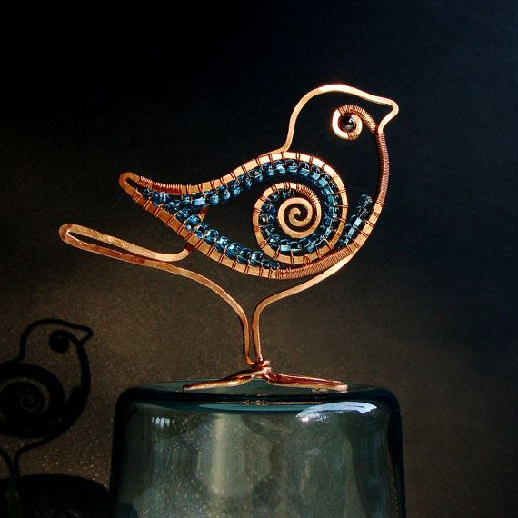 Flat Bird Copper Wire Sculpture Blue Beads Wire by sparkflight, $35.00