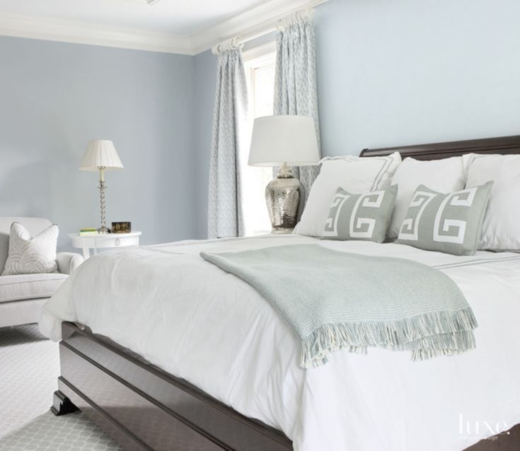 Traditional Master Bedroom With Pale Blue Accents