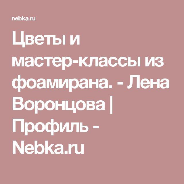 Цветы и мастер-классы из фоамирана. - Лена Воронцова | Профиль - Nebka.ru