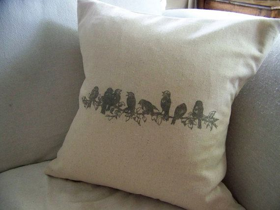 bird pillow cover - linen - bird on branch - gray - home decor - antique image - vintage style