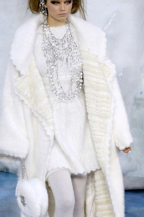 CHANEL - Winter White oversized coat, white dress & silver pearl beaded necklaces for a Northern Queen