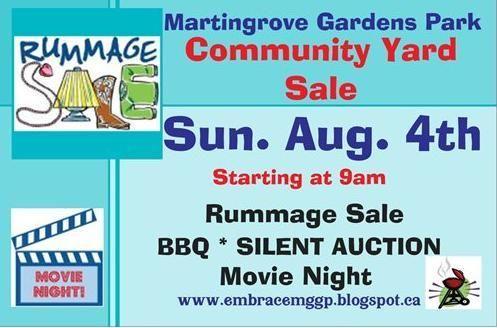 Rummage Sale starting at 9am BBQ * Silent Auction * Movie Night in Martingrove Gardens Park Etobicoke