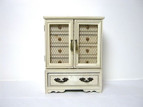 Vintage White Jewelry Box With Wire Doors