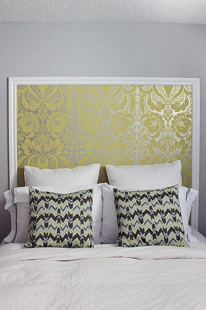 DIY Headboard-dif wall paper! But I love the idea! Maybe wallpaper plywood so we can take it with us next time we move?