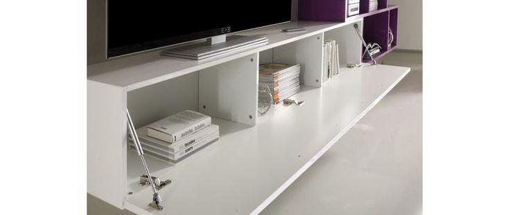 Mobile porta TV XENON a parete Design Bianco e Grigio scuro XENON