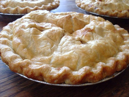 "Perfect"" Pie crust recipe. Mostly butter, but uses some shortening ..."