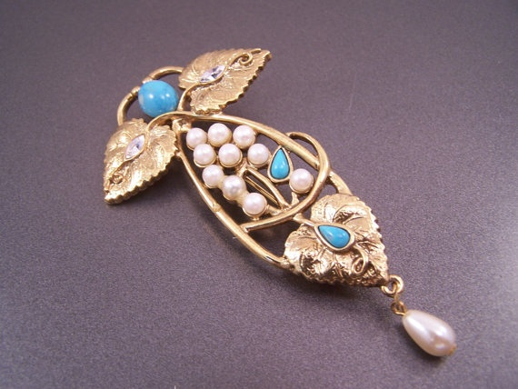 1928 Jewelry Company Pearl  and Turquoise by LucyLucyLemon on Etsy, $14.99