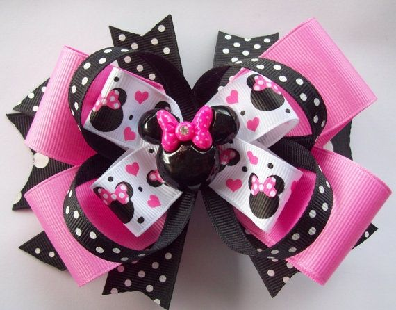 diy minnie mouse hair bow | Pink and Black Miss Magical Mouse Minnie Boutique Hair Bow | Hair bows