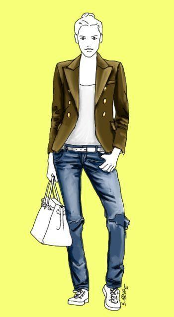 So funktioniert diese Silhouette: Die bodenlange, gerade Jeans macht die Beine nach unten hin lang. Der taillierte, hüftlange Blazer schafft eine deutliche Taille. Das T-Shirt mit tiefem Rundhals-Ausschnitt, die hüftig geschnittene Jeans und der weiße Gürtel verlängern den Oberkörper und akzentuieren die Hüfte.