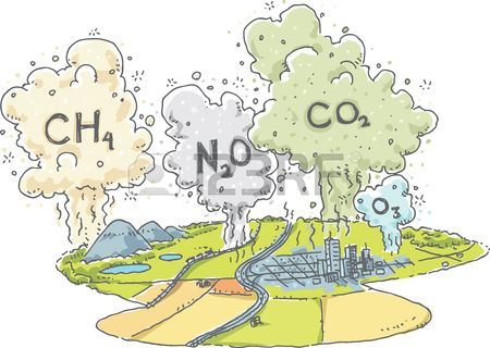 A Cartoon Landscape With Clouds Of Greenhouse Gases Such As ...