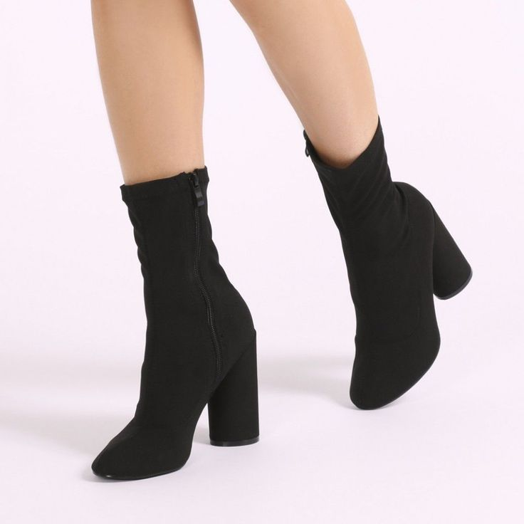 Elsa Sock Fit Round Heel Ankle Boots in Black Stretch