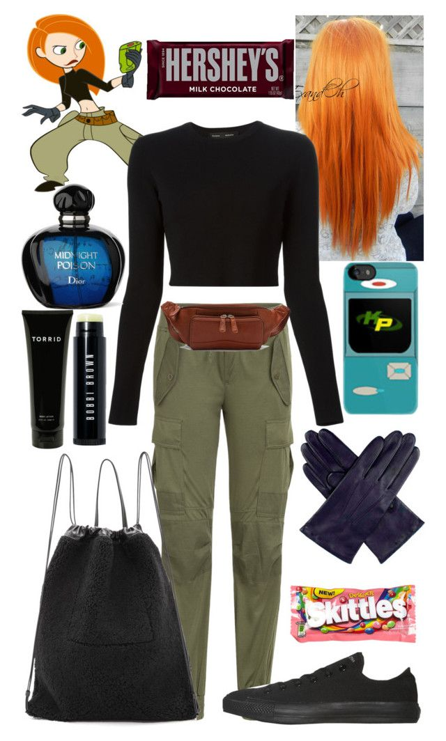 """Kim possible costume"" by chloe12801 ❤ liked on Polyvore featuring Disney, Polo Ralph Lauren, Proenza Schouler, Converse, Osgoode Marley, Dents, Torrid, Bobbi Brown Cosmetics, Kara and River Island"