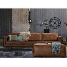 Prachtig 3-zits cognac bruin, leren bankstel van BePureHome. Bank Rodeo heeft een moderne, luxe en eigentijdse look met losse kussens. En, een tikkie eigenwijs