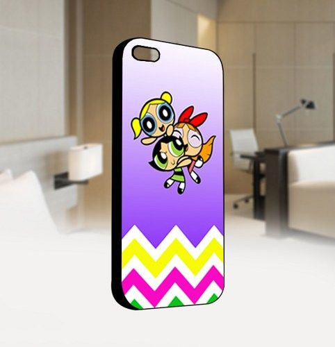 Powerpuff Girls Chevron - For IPhone 4 or 4S Black Case Cover