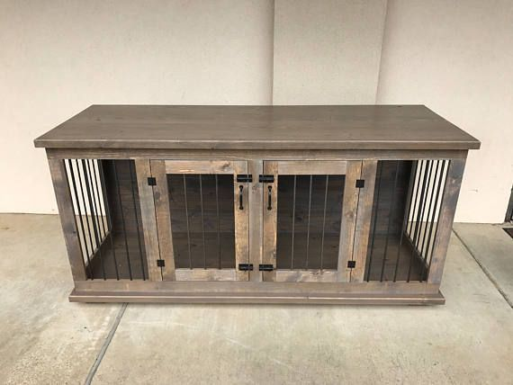 Custom Double Dog Kennel Crate Furniture Hinged Coffee or