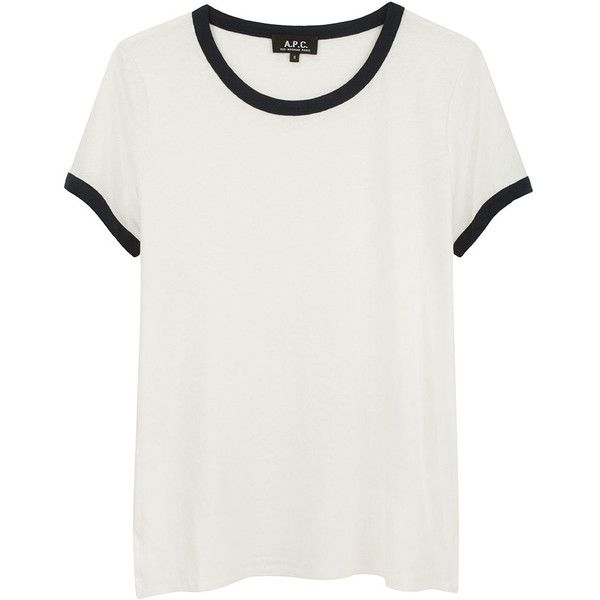 A.P.C. Cotton Linen T-Shirt ($85) ❤ liked on Polyvore featuring tops, t-shirts, shirts, tees, women, short sleeve shirts, navy shirt, cuff shirts, short sleeve t shirt and t shirts
