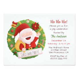 Cute Father Santa Wreath Christmas Party Invitations