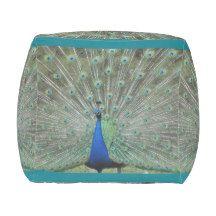 Peafowl Peacock Bird Feather Pouf