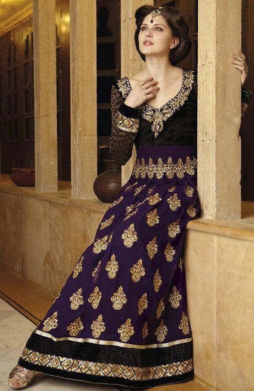 Purple and Black Full Sleeve Viscose Designer Salwar Kameez 13473