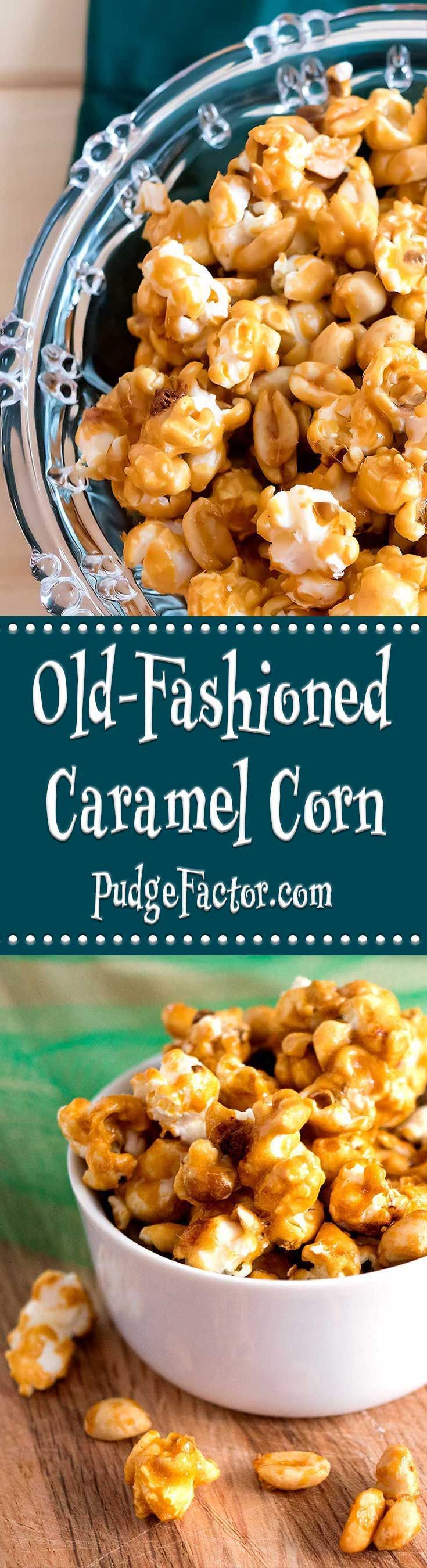 Old-Fashioned Caramel Corn is sweet, crunchy & totally addictive. When stored in an airtight container, it will keep for several weeks. via /c2king/