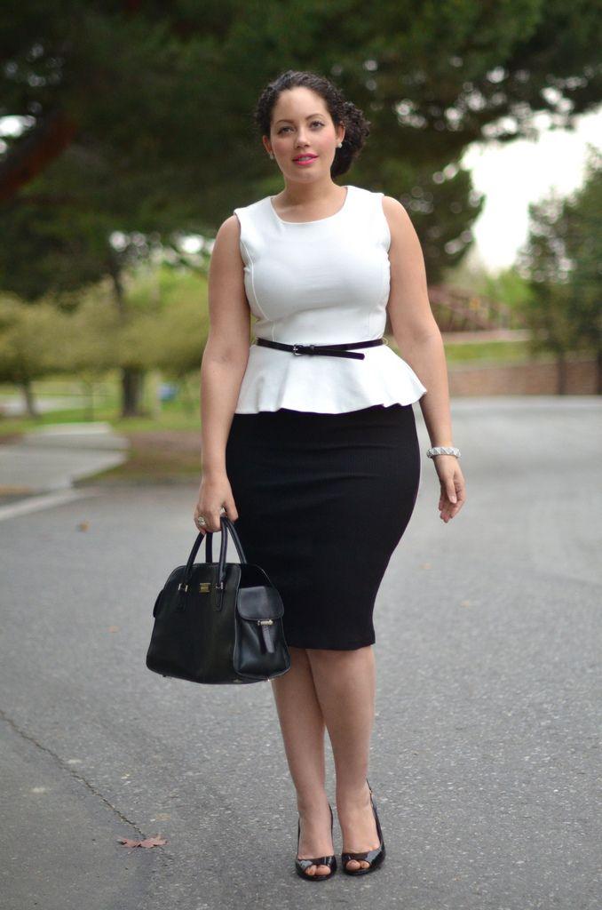 Black and white look. Also love the peplum detail.Peplum Tops, Plus Size, Curvy Girls, Curvy Women, Size Fashion, Black White, Work Outfit, Curvy Fashion, Black Pencil Skirts