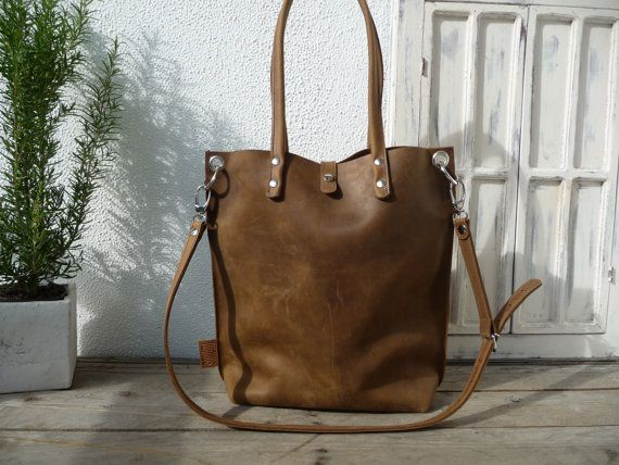 Leather tote sturdy leather tote brown by SanumiLeatherGoods