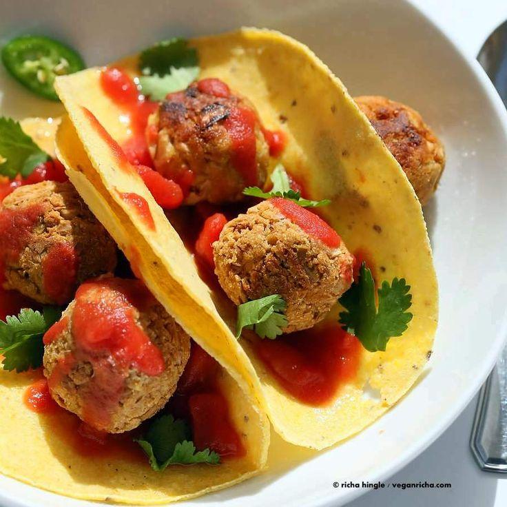 Jackfruit Meatballs Tacos http://www.veganricha.com/2015/06/jackfruit-meatballs-tacos.html