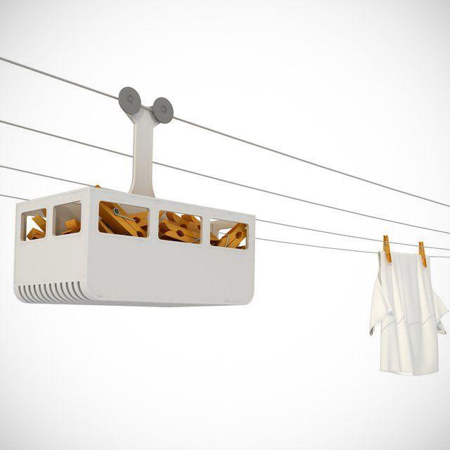 Un téléphérique à pinces linges, parce qu'elles ont le droit à un vrai panier