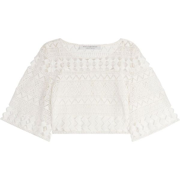 Philosophy di Lorenzo Serafini Crochet Lace Peasant Top ($265) ❤ liked on Polyvore featuring tops, white, white crochet top, crochet lace crop top, lace top, elbow sleeve tops and retro crop top