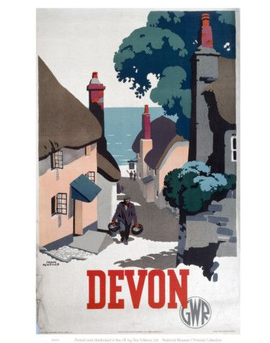 Vintage Travel Poster - UK - Devon - Railway