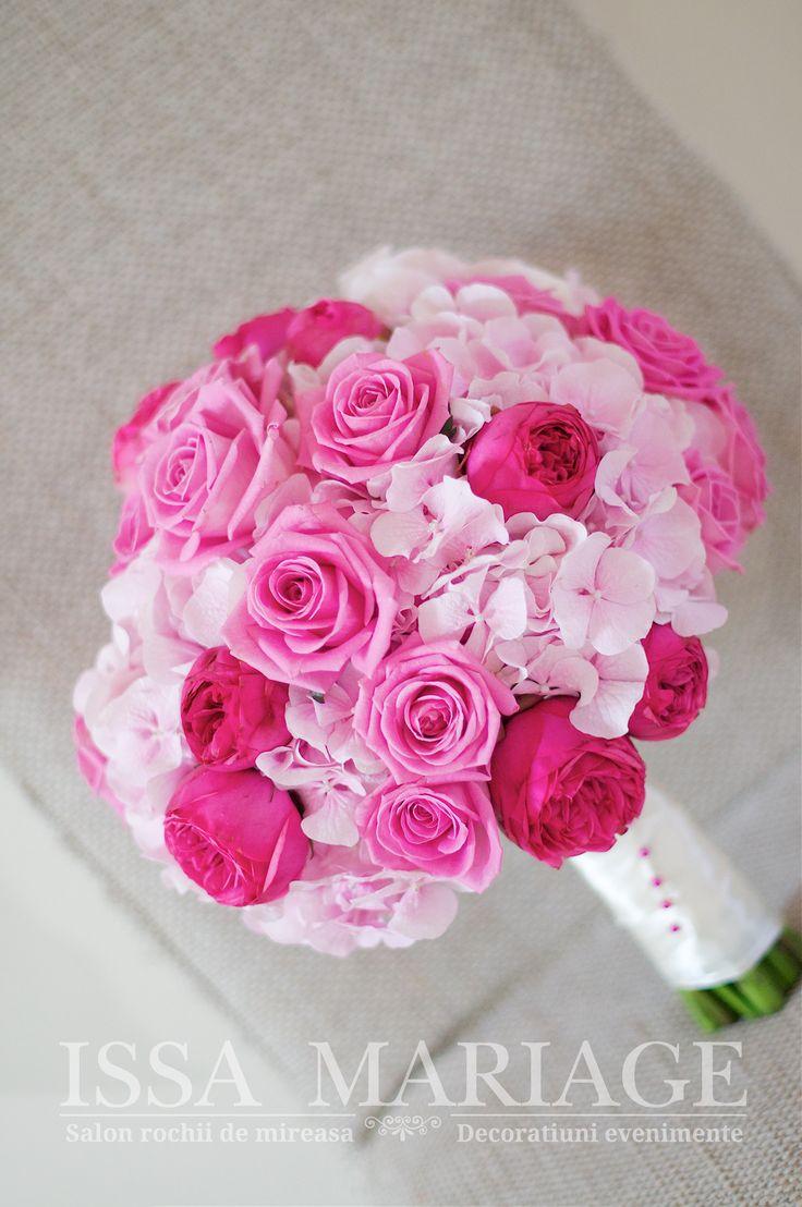 buchet mireasa trandafiri roz