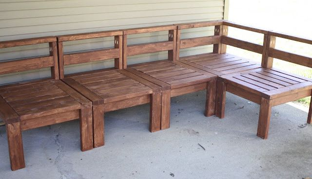 DIY 2x4 outdoor sectional for only around 100 bucks and then just put cushions on it