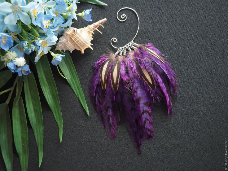 Необычный цветок - фиолетовый кафф с крупными яркими перьями - яркий кафф, летний кафф