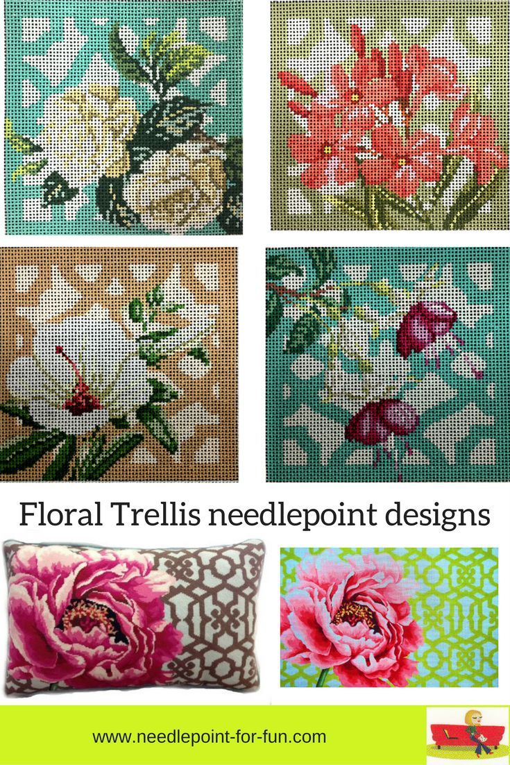 Floral trellis needlepoint designs from Kirk and Bradley