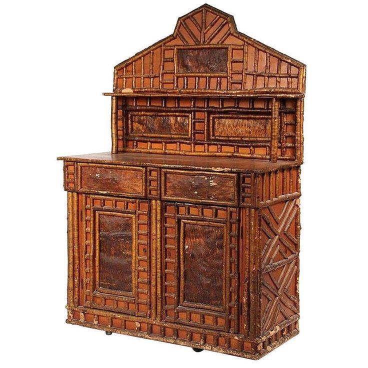 Rustic Birch Kitchen Cabinets: Rustic Adirondack Birch Twig Design Cupboard, C. 1890
