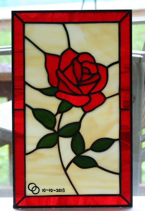 Custom Made Little Rose - Stained Glass Panel