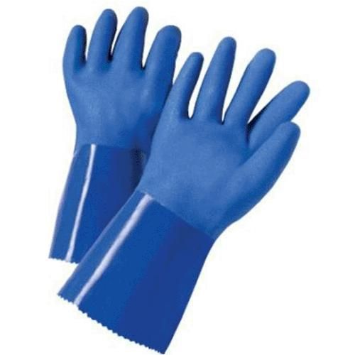 West Chester 13500/L PVC Coated Lined Chemical Gloves, Large, Blue