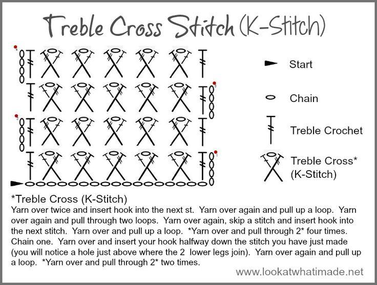 ... Treble Cross Stitch K Stitch How to Crochet: Treble Cross Stitch (K