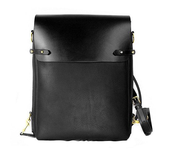 $454 Black leather satchel bag backpack vertical messenger