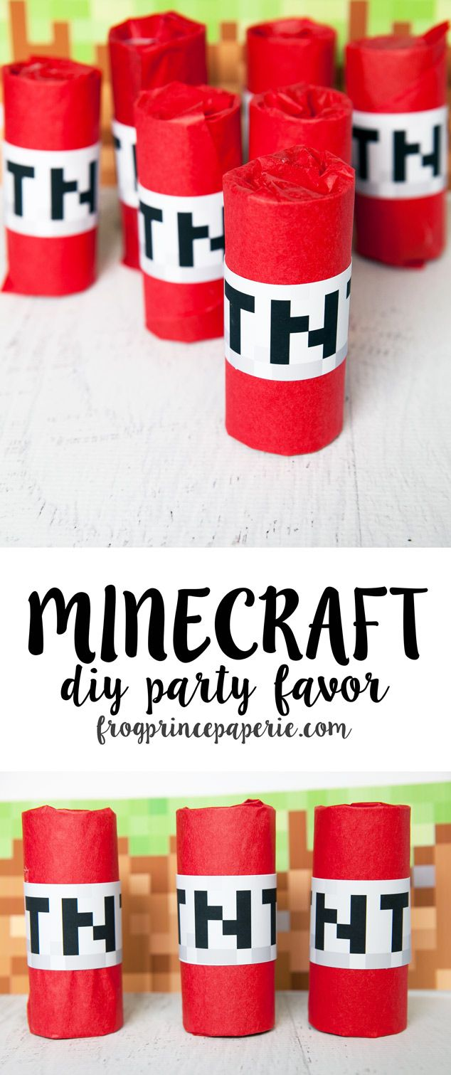 Minecraft Party Favor DIY – TNT! Use empty cardboard tubes, red tissue paper and a printable file to make Minecraft TNT treats. These are great as Minecraft party favors or to give to trick or treaters--it'll make your house the coolest one on the block!